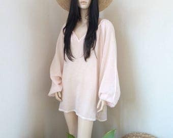 ALINE tunic - Cotton Voile - one size - Beach - Bohemian - Boho - Hippie - Ibiza - Gypsy - Beach - Pale pink - Beachwear dress