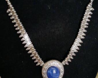 Big Bold Blue Swirl Glass Pendant on a Beautiful detailed Silver Chain
