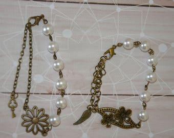 bronze, white glass bead flower bracelet