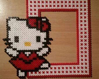 Hello Kitty 22x21cm (inside 9.5x13.5) in pearls Hama Bead frame