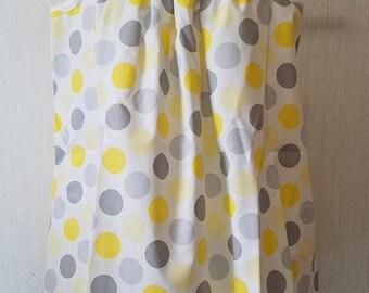 Yellow and Gray Polka Dot Top