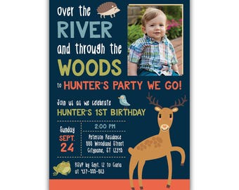 Forest Birthday Invitation | Over the river and through the woods | Animals | Wildlife | Woodlands | Printed | Digital