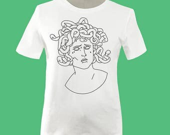 Mourning Medusa T-Shirt - Greek Mythology, Mythology Shirt, Graphic Tee, Graphic Art, Art Shirt, Snake, Vaporwave Shirt