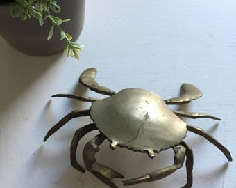 Vintage Brass Gold Crab Ash Tray Ashtray Nautical Coastal Beach Decor