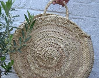 Round palm leaf basket bag