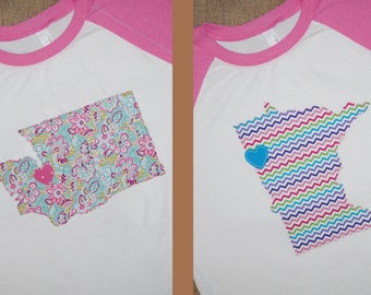 Girls' Raglan State and City Shirt - Two Designs