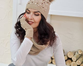 Beauty gift Hats women Winter hat Slouchy knit hat Knitted hats Pom pom hat knit Hand knitted hat Embroidered knit hat Hand knit hat Wool