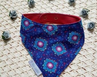 Bandanna Bib | Baby Bib | Toddler Bib | Dribble Bib | Blue | Flower Print | Adjustable |