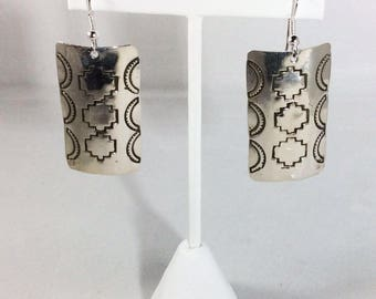 Sterling Silver Navajo Native American Imprinted Southwestern Dangle Earrings
