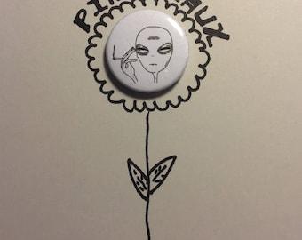 Alien Button Pin-1 Inch