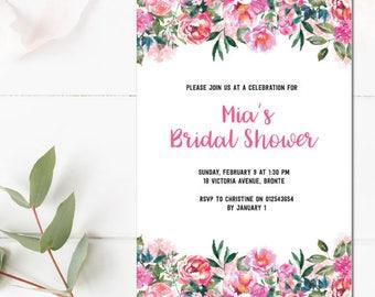 Bridal shower Invitation | Floral Invitation | Pink floral invite