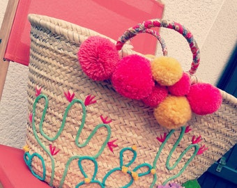 Basket personalized pompoms cactus / Beach basket custom