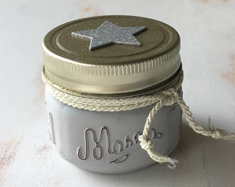 Shabby Chic Aged Gray Scented Mason Jar Candle with Silver Star Sticker on Glitter Lid