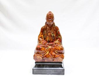 Vintage Ceramic Buddha Figurine, Zen Home Decor, Spiritual Figurine, Handmade Budda