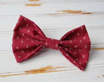 Vintage Fabric Hair Bow with Alligator Clip - crimson pattern