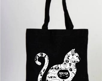 Cat, Cat Bag, Cat Lover Gifts, Cats Lover Gifts, Black and White, Daily Cotton Bag, Canvas Bag, Natural Bag, Tote Bag, Shopping Bag,