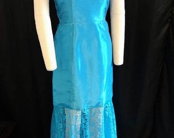 Turquoise Taffeta and Lace Gown with Crystal Embellished Off the Shoulder Portait Collar