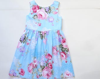 Girls Blue Rose Butterfly Dress Age 4-5 Years