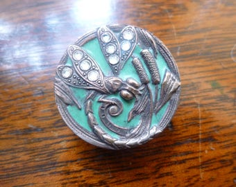 Enamel Dragonfly button with paste wings  - 1900's.