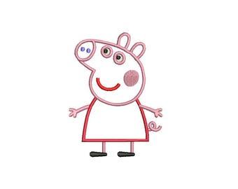 Peppa Pig Applique Design - Peppa Pig Applique - Peppa Pig Machine Embroidery Applique Design 3,4,5,6 inch