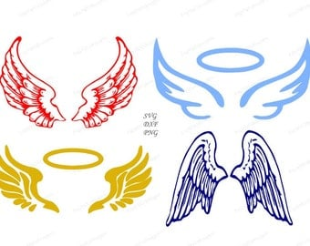 Angel Wings SVG cutting files - DXF PNG included - design for cricut or silhouette printing file
