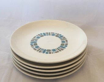 Vintage Mid-Century Temporama Atomic Lunch Plates, Set of 5,  Green, Blue, Yellow Pattern