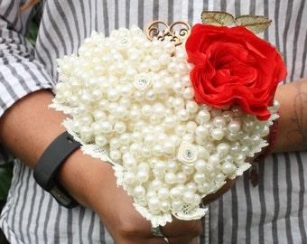Handmade pearl wedding bouquet