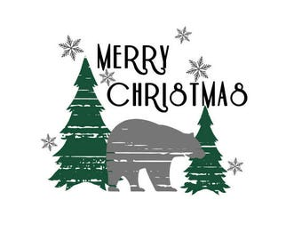 Merry Christmas Bear Distressed SVG/DXF/PNG winter