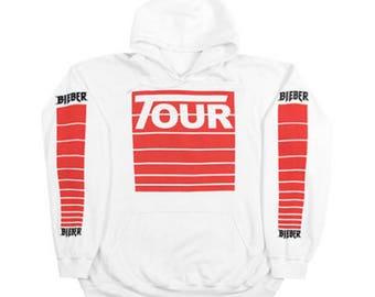 Justin Bieber Stadium tour hoodie | The World Tour Pullover | White Hoodie | Stadiumtour merch