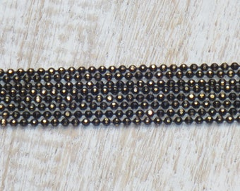 1mm Gunmetal with Gold Electroplated Diamond Cut Ball Chain 2 ft.
