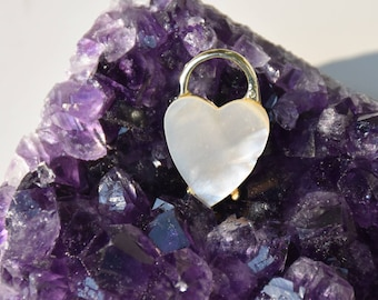 """Mother of Pearl Heart """"Lock"""" pin"""
