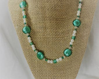 Teal and Pearl Glass Beaded Necklace