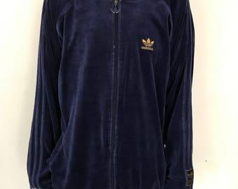 Vintage Adidas originals trefoil velour rare tracksuit track jacket 2XL