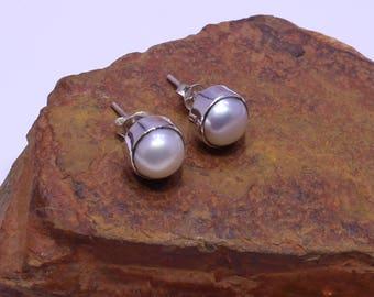 Pearl Studs, Stud Earrings, White Pearl Earrings, 9mm round Stud, Natural Gemstone Stud Earrings