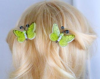 hairclips anti-slip Butterfly double wings silk white and transparent lime green, romantic-Apolline