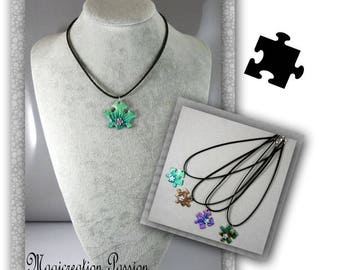 pendant necklace puzzle, more colors available on black 42 cm - costume jewelry suede cord unique made in France