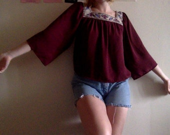 wide arm, embroidered top, hippie, extra-small, lightweight