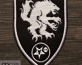 Patch Satanic Warmaster (Wolf)  logo Black Metal