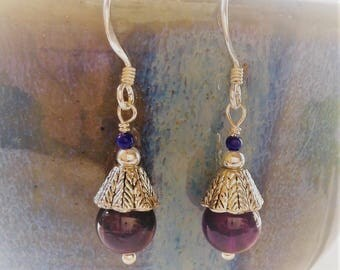 Amethyst ethnic earrings Purple