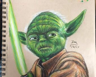Original Drawing of Yoda from Star Wars