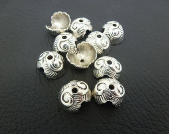10 cups caps 13 * 11mm antiqued silver shell (8SC001) shape