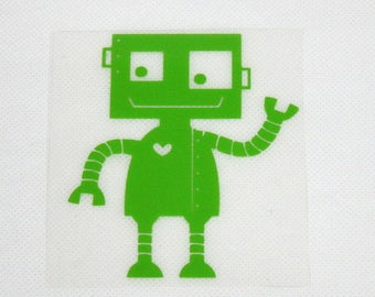 Pattern/transfer in flex fusible lime green robot