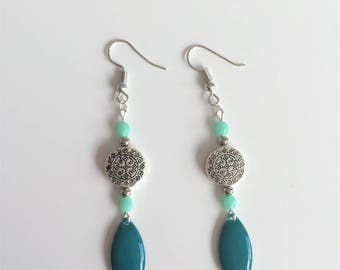 Silver and turquoise dangling earrings