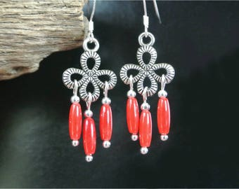 Delicate and fine Silver earrings drops ribbed shaped flower or cross, red dyed coral beads.