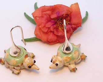 """Earrings """"Turtles funny"""" beads painted ceramics and 925 sterling silver ear wires."""