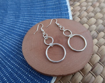 Silver circles earrings drop pendnate, minimalist ethnic jewelry, gift for woman