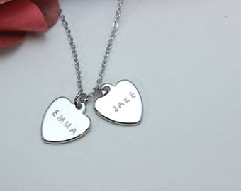 Stamped Heart Necklace/Heart necklace engraved/Heart necklace/Heart pendant/Heart charm/Valentines Day Gift/Name heart jewel/Couples name