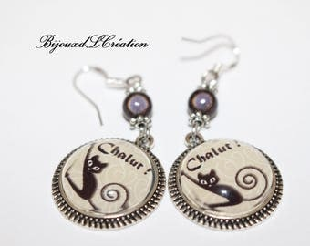 FUNNY black cat earrings