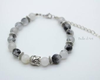 Quartz Tourmaline gemstones and Buddha bracelet