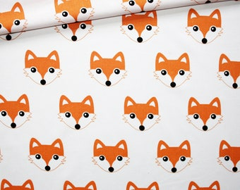 Fox, 100% cotton fabric printed 50 x 160 cm heads Orange foxes on white background